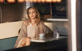 Picture girl, model, coffee, the beauty, Karmen Pedaru