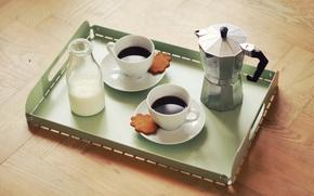 Picture food, cup, coffee, milk, cookies, moka, arabica, robusta