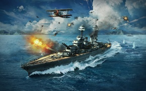 Wallpaper Grumman F3F, WoWS, World of Warships, The World Of Ships, The sky, Colorado, Water, Flame, ...