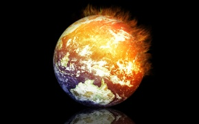 Picture reflection, rendering, fire, earth, planet