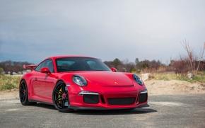 Picture Porsche, Red, Black, GT3, Wheels, 991
