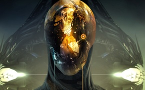 Picture fiction, art, Sci-fi, helmet. reflection