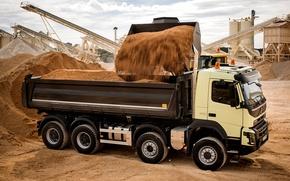 Picture sand, machine, Volvo, body, bucket, FMX, 8x4