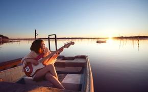 Picture girl, lake, music, boat, guitar