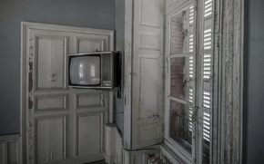 Wallpaper room, window, TV