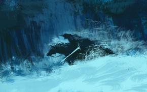 Picture forest, snow, sword, art, rider, Dota 2, Abaddon, Lord of Avernus