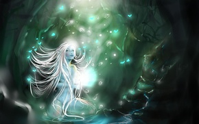 Picture forest, fireflies, magic, Nymph