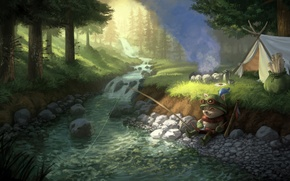 Picture forest, trees, nature, river, art, tent, animal, target, League of Legends, LoL, Teemo, Teemo's Off …