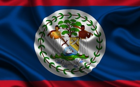 Picture Red, Blue, Flag, Coat of arms, Texture, Flag, Belize, Belize