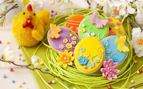 Picture holiday, spring, colorful, cookies, Easter, flowers, sweet, glaze, spring, eggs, holiday, easter, cookies, decoration, pastel, …