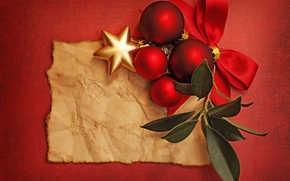 Picture leaves, balls, bow, Christmas decorations, asterisk