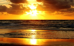 Picture sand, sea, wave, water, the sun, clouds, sunset, shore