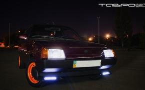 Picture auto, light, night, lights, the evening, car, night city, ZAZ, 1102, Tavria