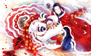 Wallpaper new year, gifts, male, new year, man, the red mantle, tangerines