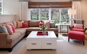 Picture design, photo, table, sofa, interior, living room