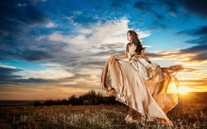 Picture girl, nature, pose, model, makeup, figure, outfit, girl, dress, nature, model, shape, posture, make-up