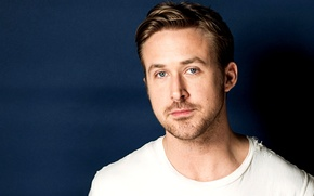 Picture blue, face, background, actor, male, Ryan Gosling, Ryan Gosling
