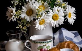 Picture flowers, coffee, chamomile, milk, still life, croissant, Anna Verdina
