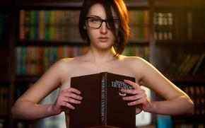 Picture girl, naked, glasses, book, Russia, Mikhail Bulgakov, smart