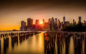 Picture sunset, the city, New York, USA, skyline, New York
