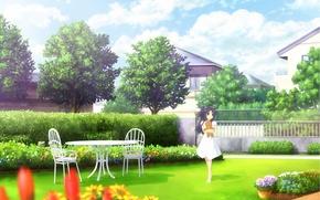 Picture summer, table, home, garden, bear, flowerbed, clannad, flower garden, kotomi ichinose, by kazami ikeda
