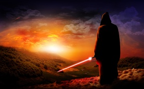 Picture sunset, sword, Jedi