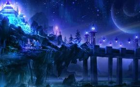 Picture sea, wave, night, bridge, lights, stones, rocks, planet, art, temple