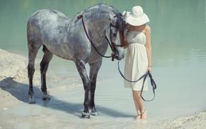 Wallpaper water, girl, horse, hat
