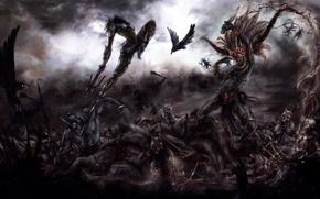 Picture art, crows, battle, demons, hunter, the sorcerer, diablo 3, demons