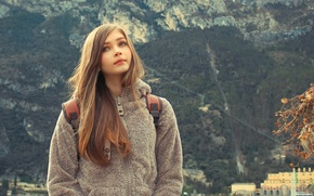 Picture girl, landscape, nature, background, sweetheart, view, mountain, beautiful, cute, Karina Kozyreva