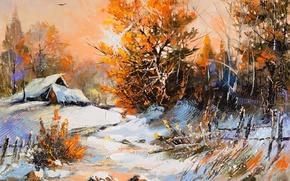Picture winter, snow, trees, landscape, paint, foliage, picture, village, houses, orange, winter scene, Perfect