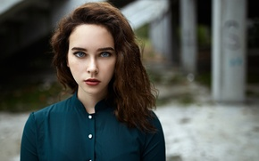 Picture look, girl, sweetheart, portrait, makeup, lipstick, freckles, light, red, shirt, beautiful, the beauty, young, blue-eyed, …