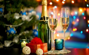 Wallpaper New Year, gifts, holidays, tree, lights, bokeh, New Year, Christmas, tree, glasses, Christmas, champagne