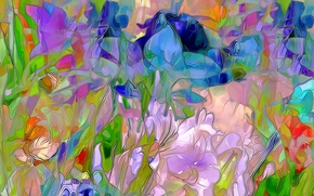 Picture flowers, nature, rendering, petals, meadow