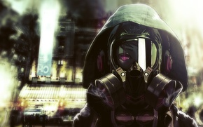 Picture the city, headphones, art, hood, gas mask