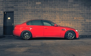 Picture red, wall, bmw, BMW, profile, red, wall, wheels, bricks, sedan, drives, e90