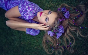 Picture girl, flowers, makeup, dress, bokeh, purple, all purple