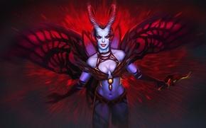 Picture girl, wings, the demon, art, horns, Dota 2, Akasha, Queen of Pain