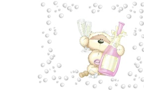 Picture bubbles, holiday, art, bear, champagne, fizzy moon