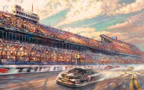 Picture Lincoln, sport, speed, track, race, painting, freeway, cars, racing track, Motorsport, Thomas Kinkade, painting, Thomas …