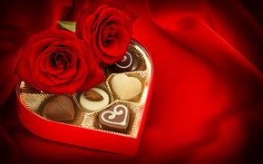 Picture chocolate, roses, candy, buds, Valentine's Day
