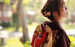 Picture style, look, background, clothing, face, kimono, girl, summer, Asian
