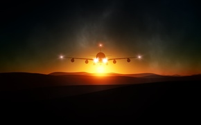 Picture light, flight, landscape, sunset, mountains, The plane, turbulence