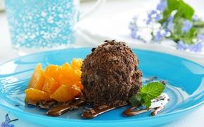 Picture orange, chocolate, plate, ice cream, mint, sweet