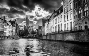 Picture clouds, house, Church, channel, Belgium