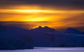 Picture Sunset, Greenland, Ilulissat Icefjord