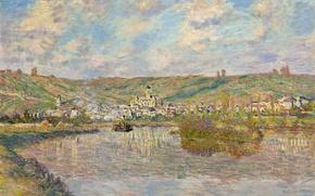 Wallpaper landscape, picture, Claude Monet, Evening in Vetee