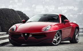 Wallpaper Flying Disc, red, Touring, the front, machine, Alfa Romeo, lights