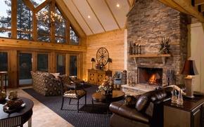 Wallpaper design, house, style, Villa, interior, fireplace, living room, living room
