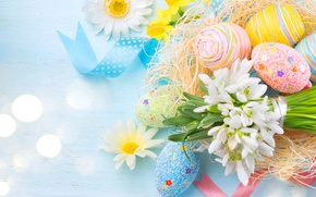 Picture eggs, spring, snowdrops, Easter, tape, Spring, Easter, eggs